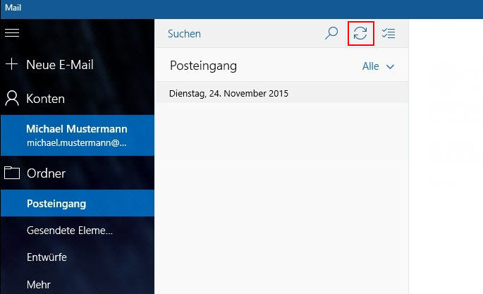Windows Mail App synchronisieren